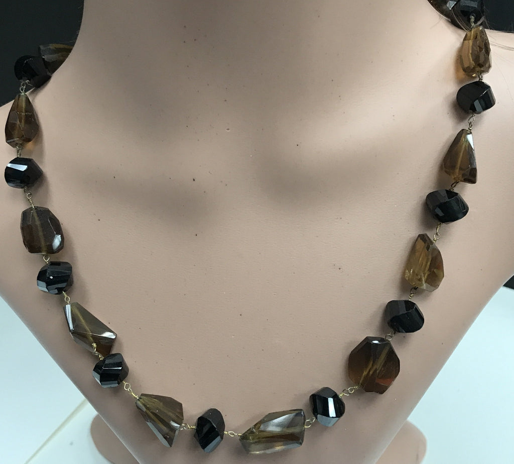 Whisky Quartz Beads facetted nugget sterling silver chain necklace 18''