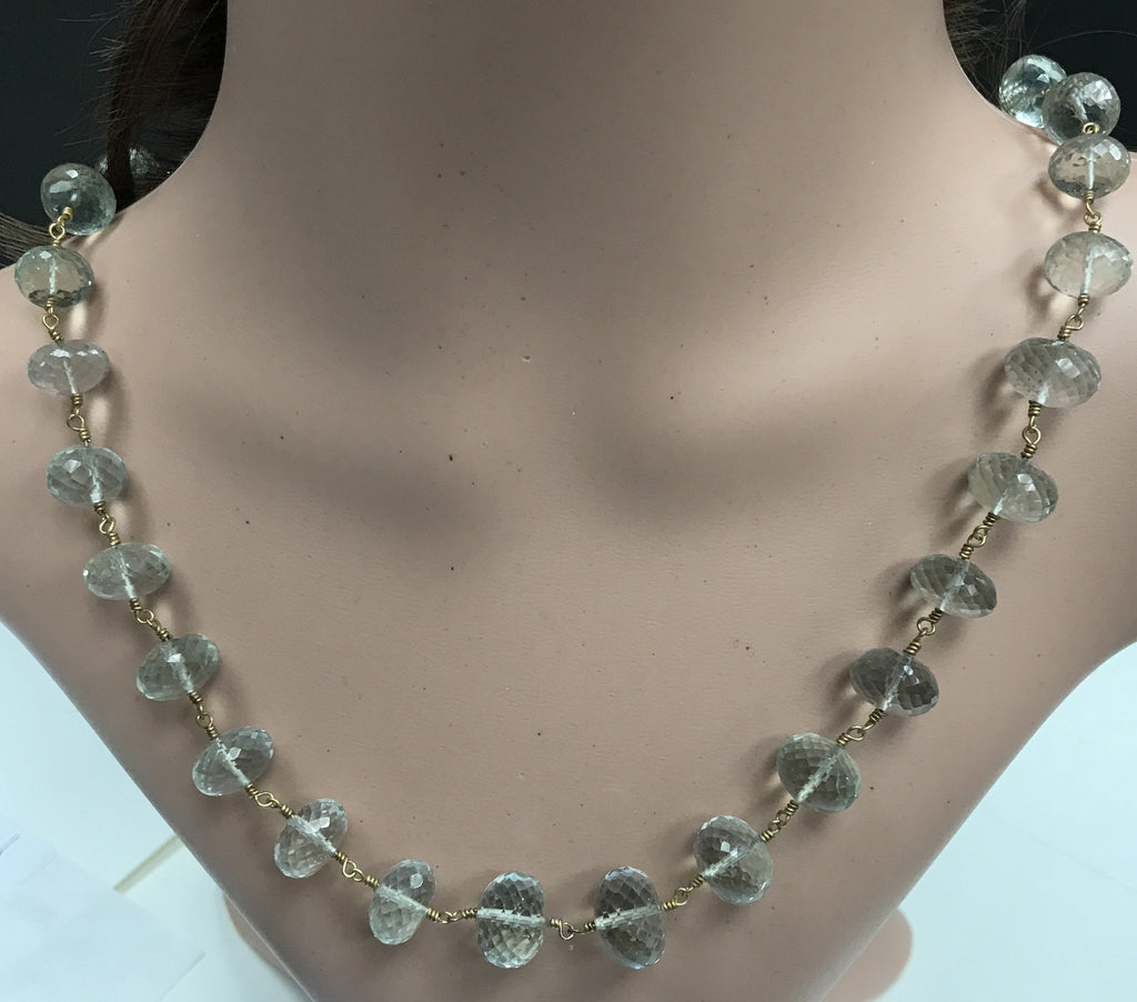 Green Amethyst beads faceted rondelle silver wire wrap necklace