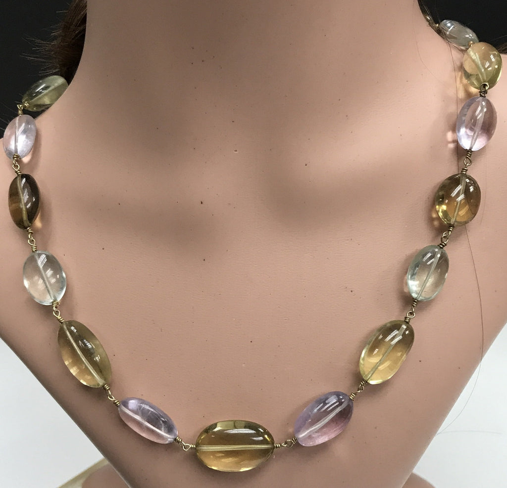 Multi colour Quartz Natural Beads Smooth Oval silver wire wrap chain necklace