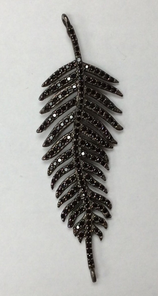 Feathers Black Spinel Charm, Pave Black Spinel ,Approx 2.20'' ( 17 x 55 mm) Oxidized Silver, Silver ,Black Spinel
