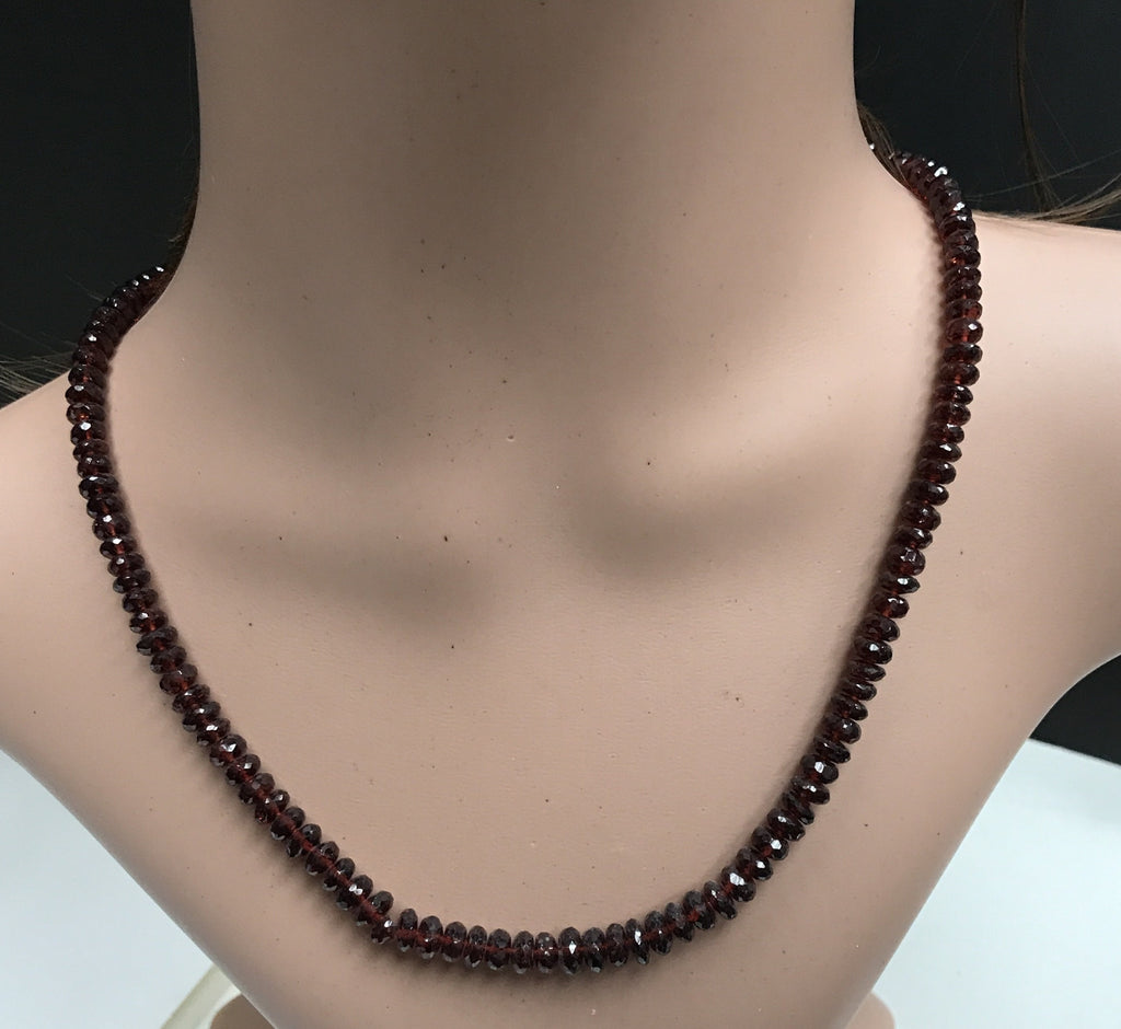 Garnet Beads Facetted Necklace 18''