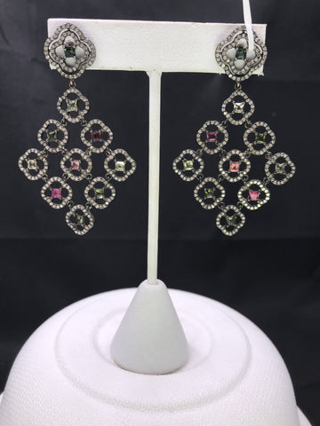 DESIGNER PARTY STERLING SILVER EARRING WITH DIAMONDS AND GEMSTONE