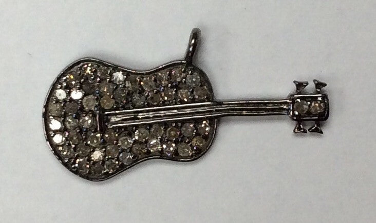 "Guitar Diamond Charm .925 Oxidized Sterling Silver Diamond Charms, Genuine handmade pave diamond Charm Size Approx 1.0""(11 x 25 MM)"