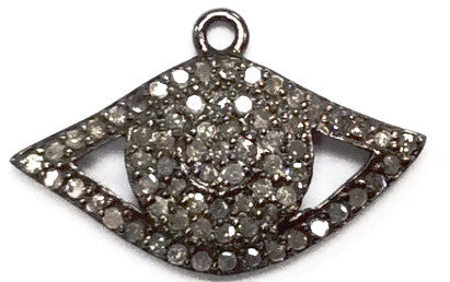 Evil Eye Diamond Charm .925 Oxidized Sterling Silver Diamond Charms, Genuine handmade pave diamond Charm Size 24 x 12 MM