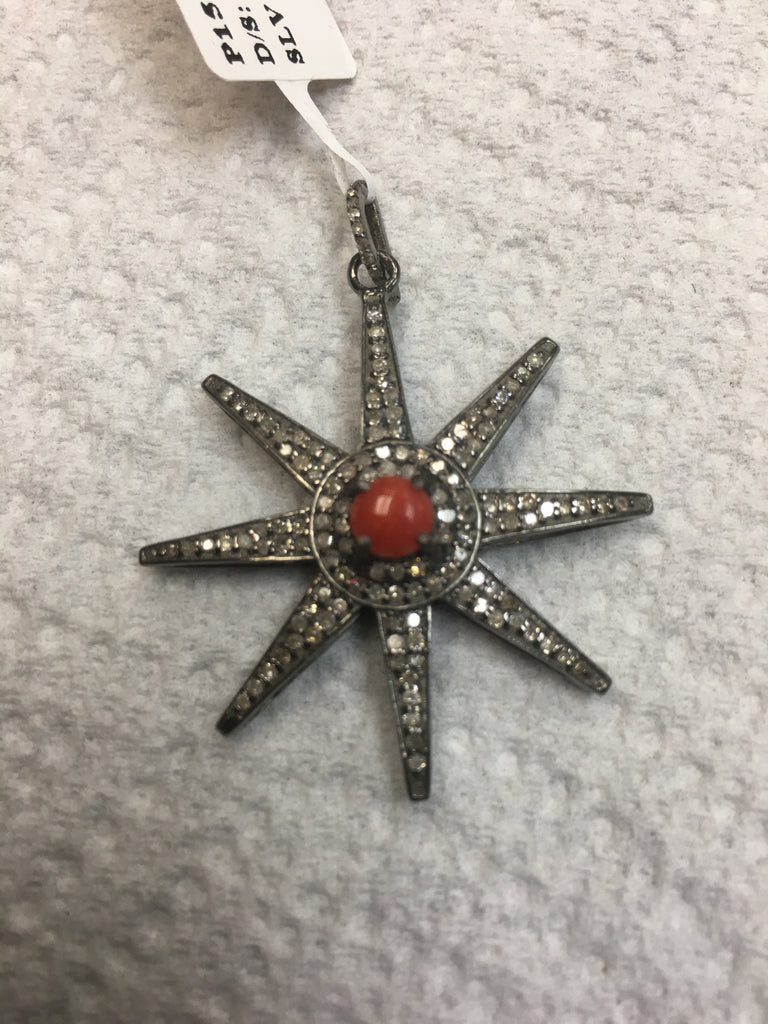 Stars Diamond Charm. Size 34 x 38 mm.