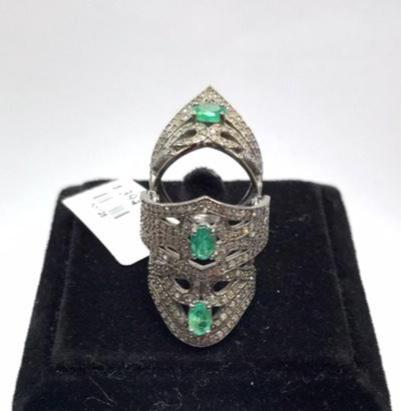 Diamond and Emerald Tunnel Knuckle Ring