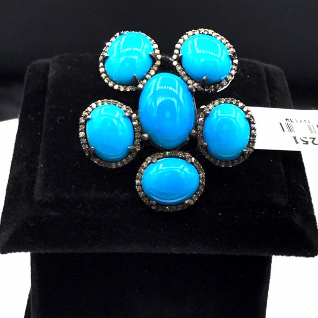 Turquoise and Diamond Designer Ring