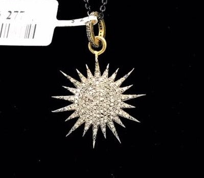 Sun Burst Shape Diamond Pendant
