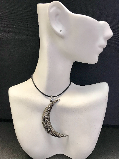 "Moon with Opal Diamond Charm .925 Oxidized Sterling Silver Diamond Charms, Genuine handmade pave diamond Charm Size Approx 2.32""(33 x 58 MM)"