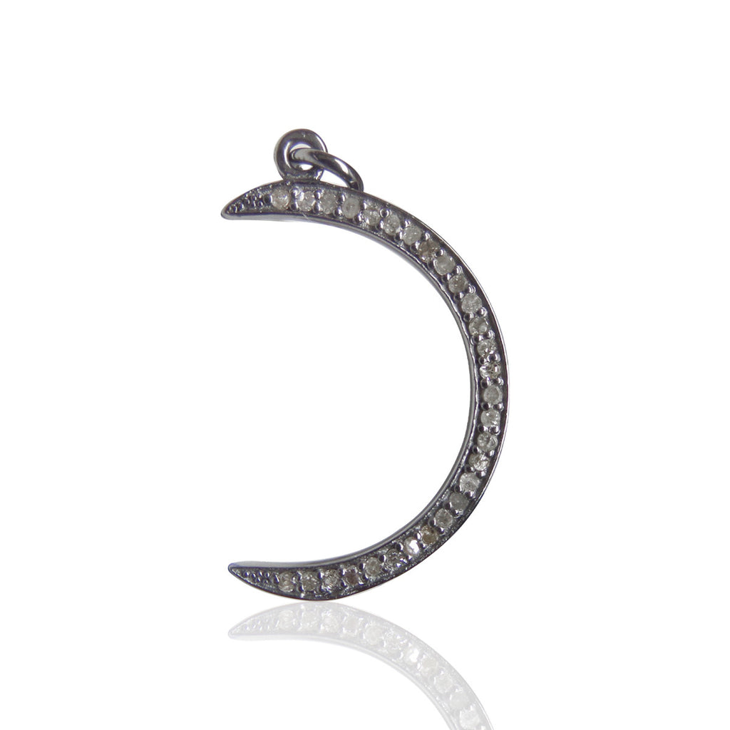 "Moon Diamond Charm .925 Oxidized Sterling Silver Diamond Charms, Genuine handmade pave diamond Charm Size Approx 0.88""(12 x 22 MM)"