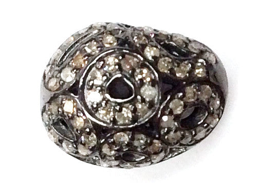 "Oval Diamond Bead .925 Oxidized Sterling Silver Diamond Beads, Genuine handmade pave diamond Beads Size Approx 0.56""(12 x 14 MM)"