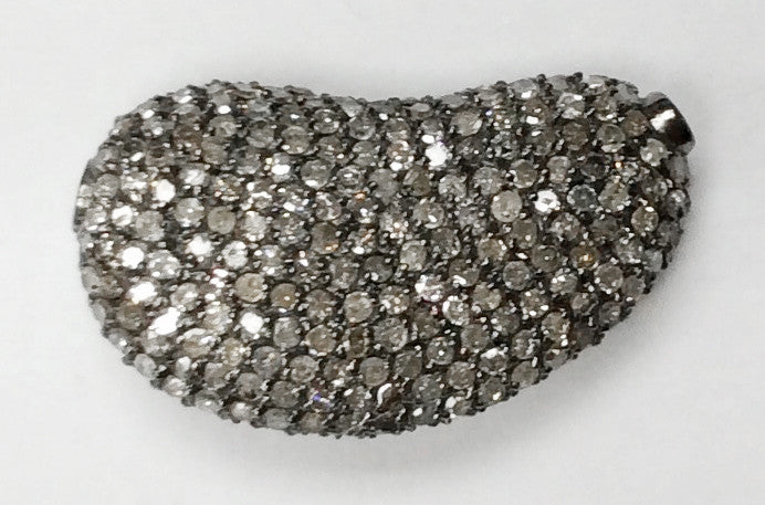 "Nugget Shape Silver Pave Diamond Beads .925 Oxidized Sterling Silver Diamond Beads, Genuine handmade pave diamond Beads Size Approx 0.92""(7 x 13 x 23 MM)"