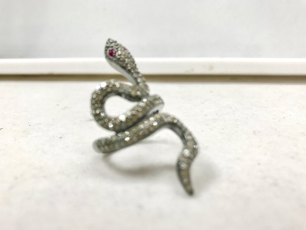 "Snake Pave Diamond Ring .925 Oxidized Sterling Silver Diamond Ring, Genuine handmade pave diamond Ring Size Approx 1.52""(20 x 38 MM)"