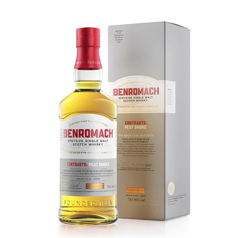 Benromach Contrasts: Peat Smoke 70cl 46% With Two Free Branded Glasses