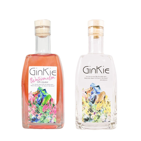 GINKIE CLASSIC AND GINKIE WATERMELON GIN LIQUEUR 2X70CL