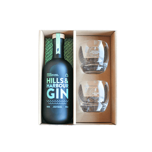 Hills and Harbour Set 70cl 40% with Two Glasses