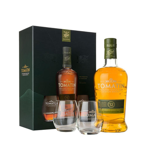 TOMATIN 12 YEARS OLD GIFT SET 70CL 43% - Aberdeen Whisky Shop