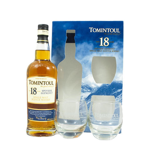 TOMINTOUL 18 YEARS OLD WITH 2 GLASSES - Aberdeen Whisky Shop
