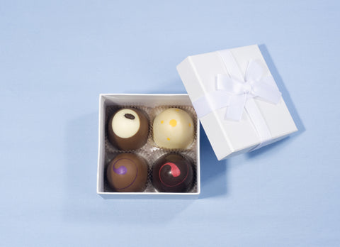 Boxed Chocolate Truffles with Decorative Ribbon