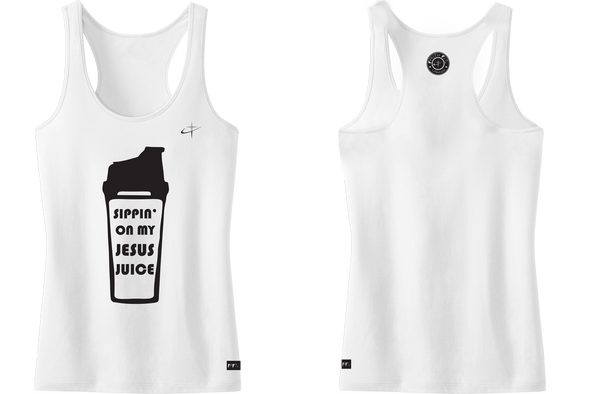 Jesus Juice. Faith Fit. Tank / White-WOMENS