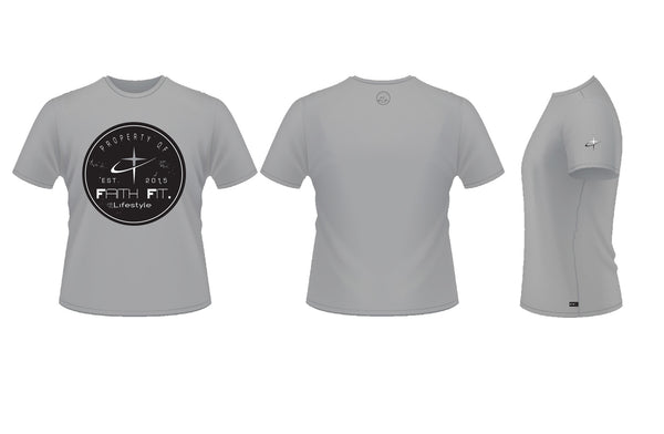 Faith Fit. Property2. UNISEX T Shirt DRI-FIT Blend. Grey