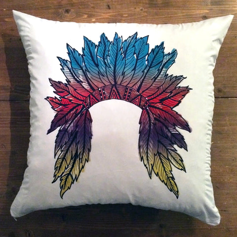 Watercolor Headdress - pillow cover