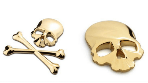 Sticker en 3D skull and bones (3 couleurs disponibles)
