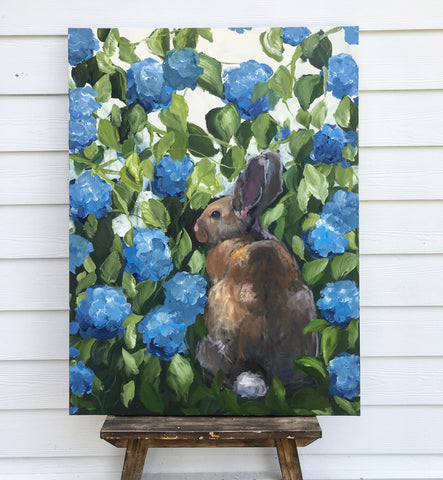bunny in the hydrangeas
