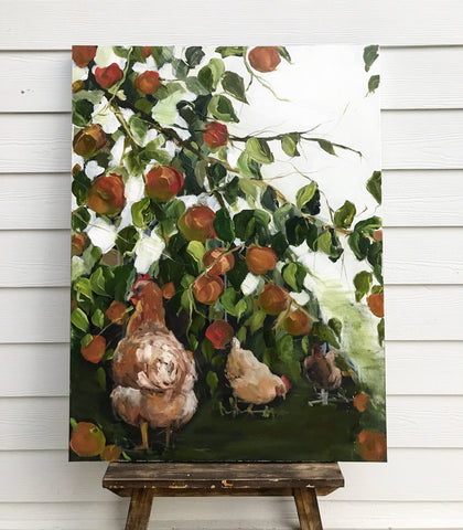 chickens and apples