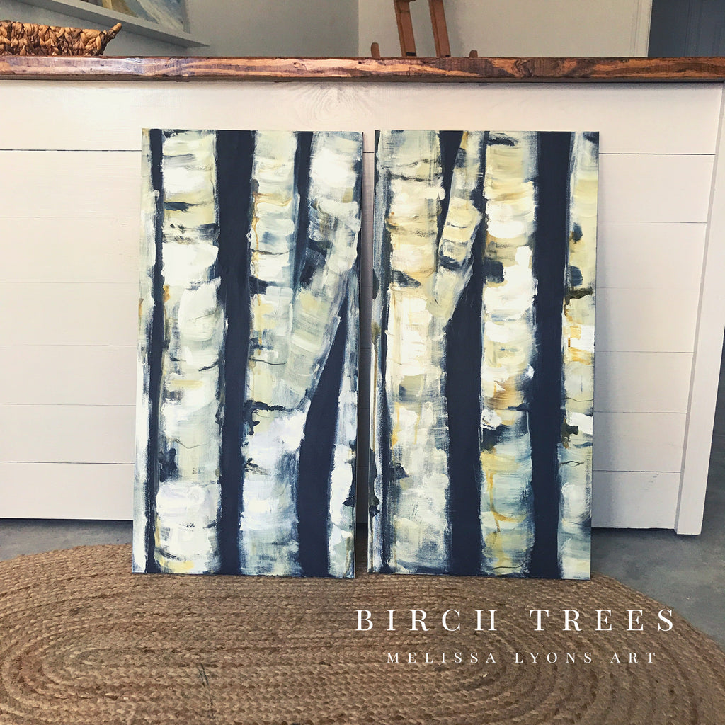 2 birch trees and oyster