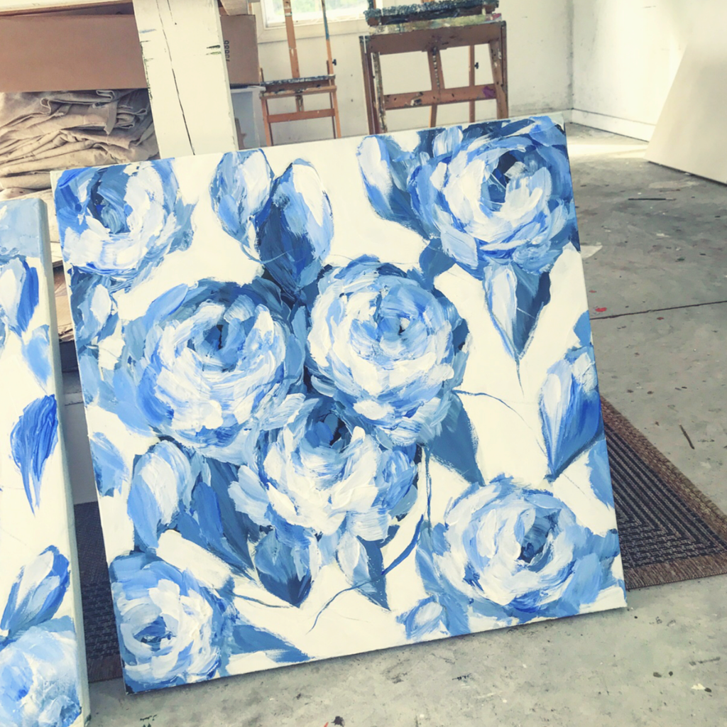 blue and white roses