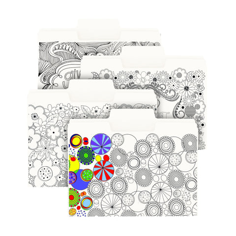 Smead SuperTab® Coloring Folder, Oversized 1/3-Cut Tabs, Letter Size, 4 Designs, 12 per Pack (11648)