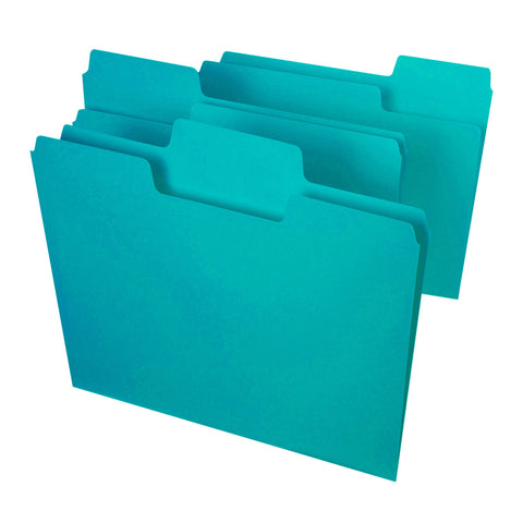 Smead SuperTab® File Folder, Oversized 1/3 Cut Tab, Letter Size, Aqua, 3 per Pack (11833)