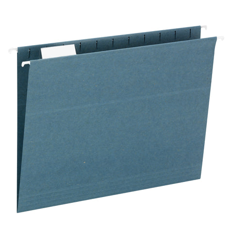 Smead 100% Recycled Hanging File Folder, 1/5 Cut Tab, Letter Size, Blue, 25 per box (65002)