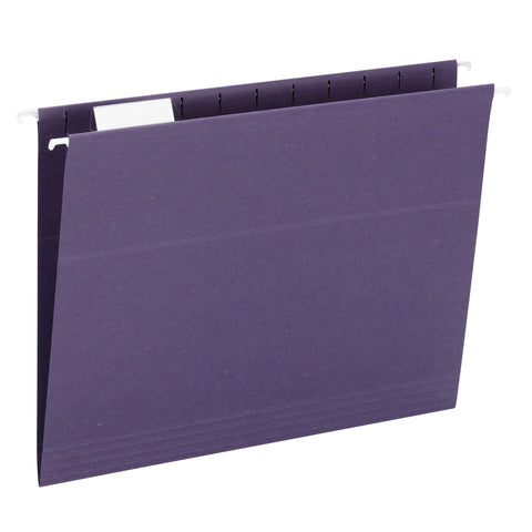 Smead 100% Recycled Hanging File Folder, 1/5 Cut Tab, Letter Size, Purple, 25 Per Box (65003)