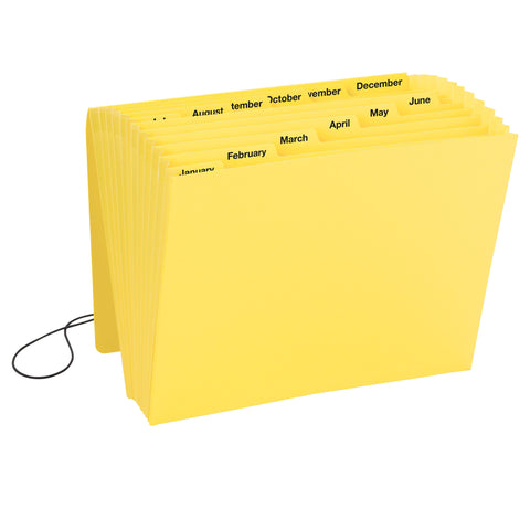 Smead Expanding File, Monthly (Jan.- Dec.), 12 Pockets, Flap and Cord Closure, Letter Size, Yellow, 1 Each (70185)