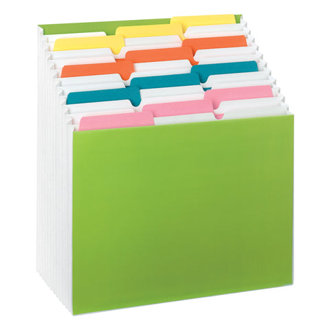 Smead Stadium® File  Alphabetic / Monthly / Daily / Household / Blank Labels, 12 Pockets, Letter Size, Bright Green (70214)