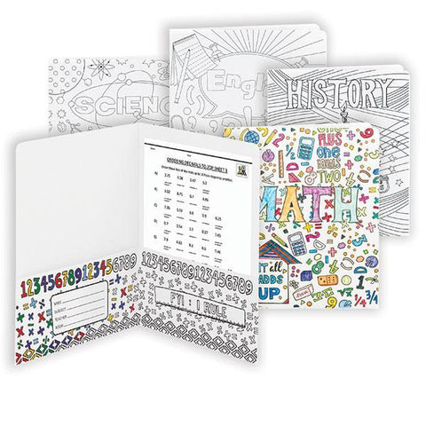Smead Two-Pocket Coloring Folder, School Subjects, Letter Size,  4 per pack (879
