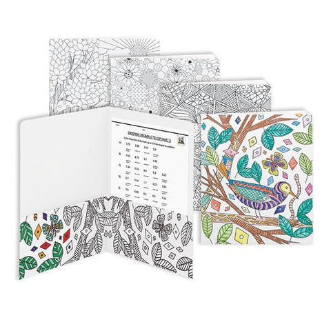 Smead Two-Pocket Coloring Folder, Floral-nature-birds and geometric designs