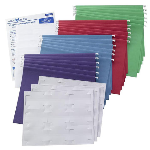 Colored Hanging Folder with Viewables® Quick-Fold Tabs Kit, 1/3-Cut Tab, Letter Size, Assorted Colors (92003)