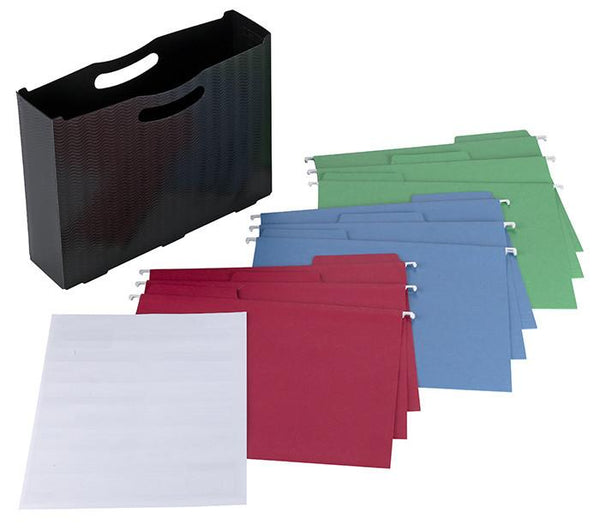 Poly File Box with FasTab® Hanging Folder and Viewables Labels Kit, 1/3-Cut Built-In Tab, Letter Size, Black (92055)