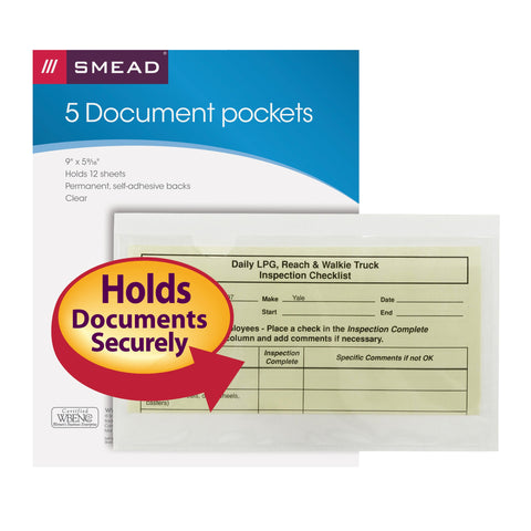 "Smead Self-Adhesive Poly Pocket, Document Size (9"" W x 5-9/16"" H), Clear, 5 per Pack (68186)"