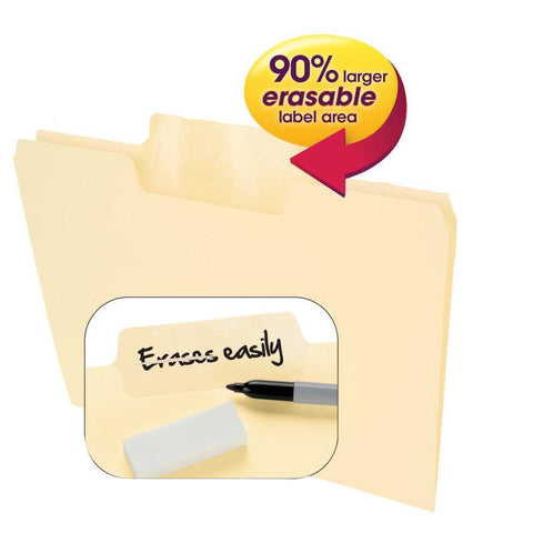 Smead Erasable SuperTab® File Folders, Erasable 1/3-Cut Tabs, Letter, Manila, 24