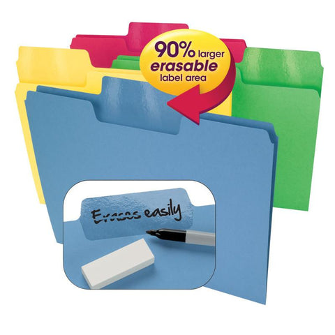 Smead Erasable SuperTab® File Folder, Erasable Oversized 1/3-Cut Tab, Letter Siz