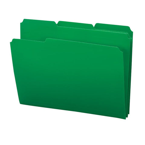 Smead Poly File Folder, 1/3-Cut Tab, Letter Size, Green, 24 per Box (10502)