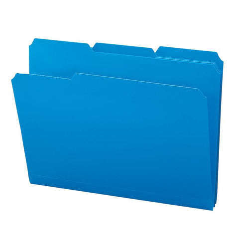 Smead Poly File Folder, 1/3-Cut Tab, Letter Size, Blue, 24 per Box (10503)