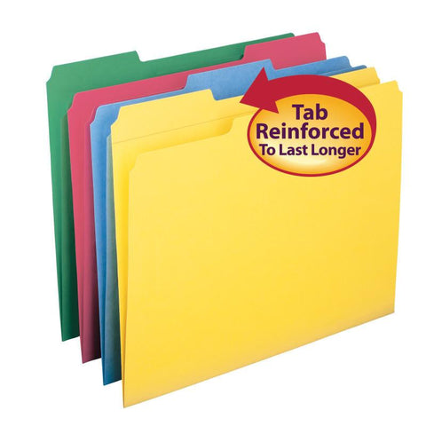 Smead File Folder, Reinforced 1/3-Cut Tab, Letter Size, Assorted Colors, 12 per