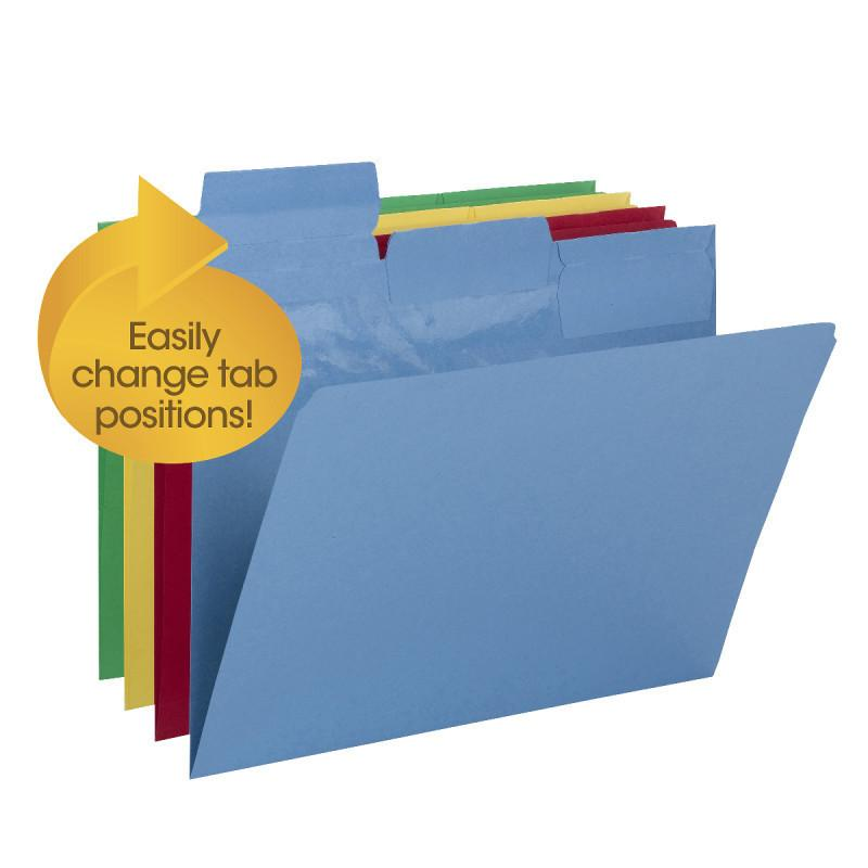 Smead Pick-A-Tab™ File Folder, Repositionable 1/3-Cut Tabs, Letter Size, Assorte