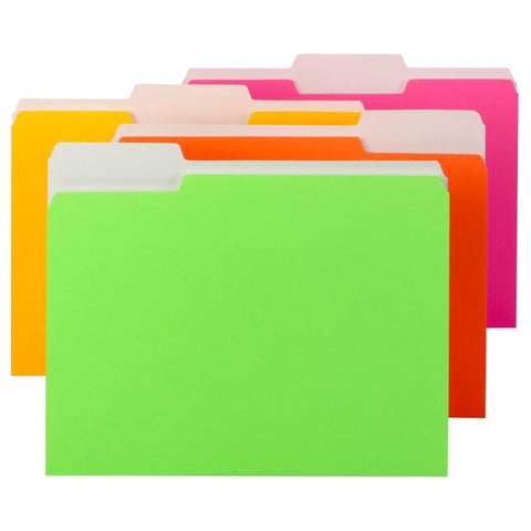 Smead File Folder, 1/3-Cut Tab, Letter Size, Assorted Neon Colors, 12 per Pack (