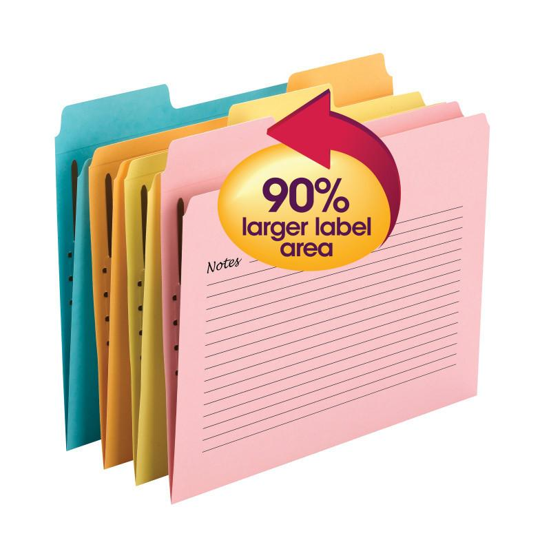 Smead SuperTab® Notes Fastener Folder, One Fastener, Oversized 1/3-Cut Tab, Letter Size, Assorted Colors, 24 per Pack (11974)